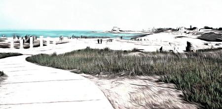 caesarea: Mediterranean sea coast,view of the ruins  Caesarea, Israel  drawing filter Stock Photo
