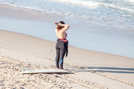 oceanside: Surfer before the way to the sea Stock Photo