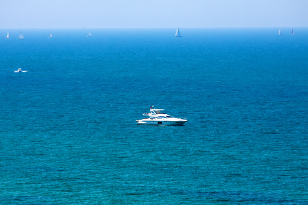 power boat: Power boat and yachts on  Mediterranean sea