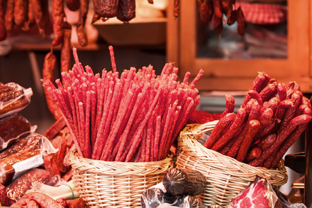 Assortment of sausages at Christmas market in Vienna