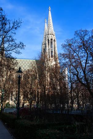 spires: VIENNA, AUSTRIA - DECEMBER 15: View on twin spires of Votive Church (Votivkirche) in Vienna, Austria on December 15, 2014 Editorial