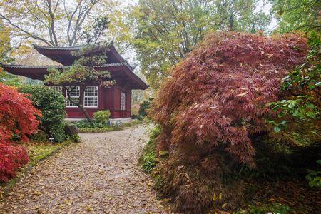 Pagoda building in Japanese garden in Leverkusen. Germany, North Rhine-Westphalia