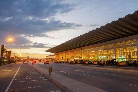 Spain , Barcelona . Airport  El prat .Taxi  cars . Sunset