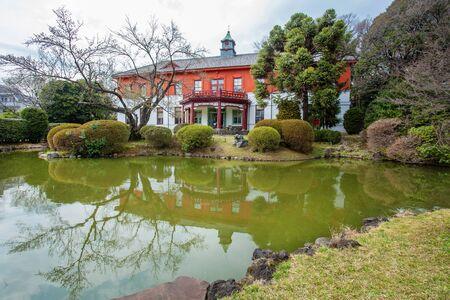 Old medical school building  in Koishikawa botanical garden and  ancient stone  bridge