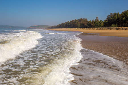 Amazing day in Kumta region on Nirvana beach- Idnian ocean and sunny Beach with snd and trees close to beach