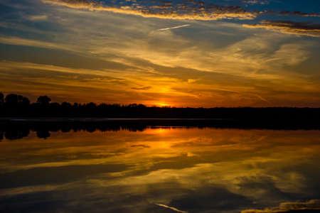 Lake at sunset while duck hunting Stockfoto