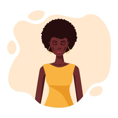 Portrait of a young beautiful african american hippie woman meditate with closed eyes .Vector flat illustration of peaceful dreaming lady with curly afro hairstyle and dark skin. Feminine woman face 写真素材 - 148817076