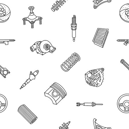 Auto car spare parts background. Isometric outline icons seamless pattern. 3D pictograms vector set