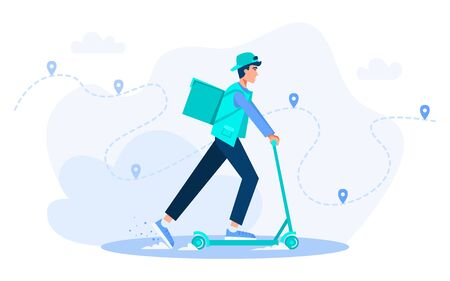 Online logistic service horizontal vector concept illustration with character in flat cartoon style. Male courier riding kick scooter with package product box. Courier in a hurry to deliver an order