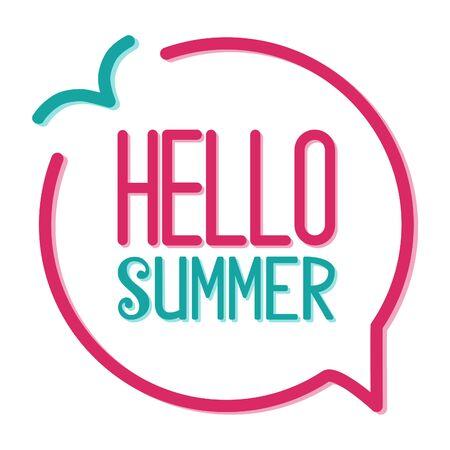 Hello summer vector lettering speech bubble