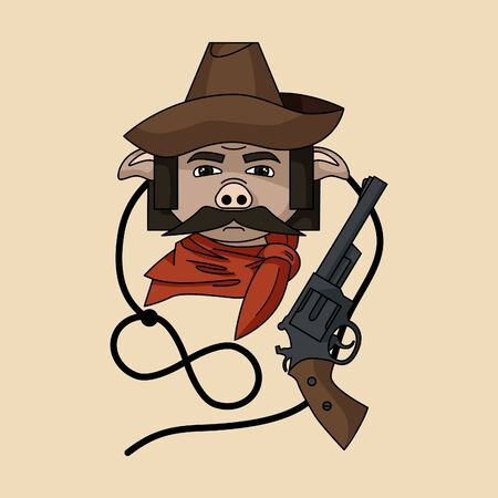 Colorful wild west vector pig