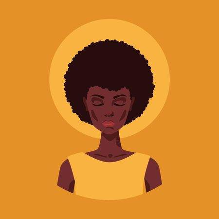 Portrait of a young beautiful african american woman meditating with closed eyes. Vector flat illustration of a peaceful crying lady with curly afro hairstyle and dark skin. Female sad female face