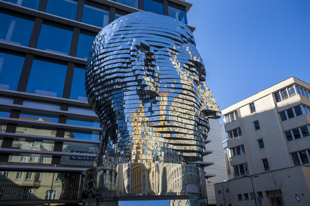 Statue of Franz Kafka, the latest work by artist David ern is located at yard of the shopping center Quadrio metro Nrodn tda. Prague, Czech Republic