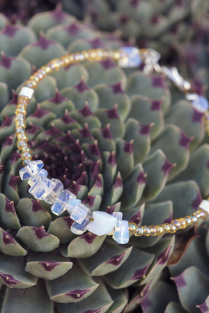 opal: Bracelet with natural opal gems on the houseleek