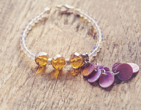 soft sell: bracelet with natural beads Stock Photo
