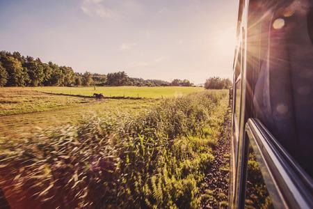 背景画像のどこにも、夏の鉄道道 写真素材