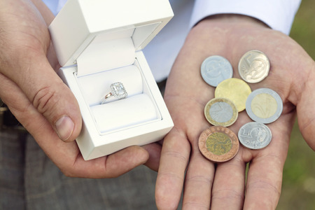 婚約指輪を買う男 写真素材