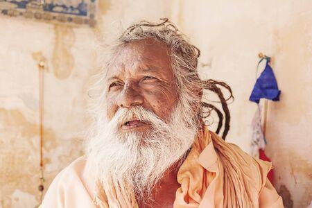Mango Baba Sadhu holy man in Puskar city, India, 14 Feb, 2018 Editorial