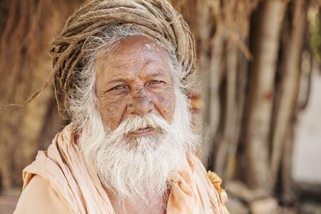 Portrait of Indian Sadhu Baba, Puskar city, India, 14 Feb, 2018 Editorial