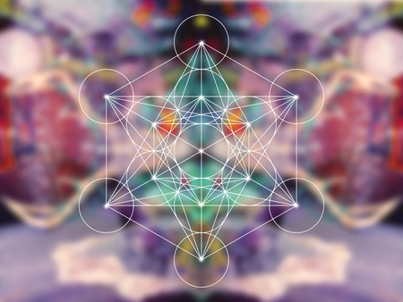 Metatron cube sacred geometry on colorful blury background Stock Photo