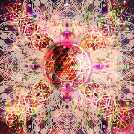 Abstract mandala with flower of life Stock Photo
