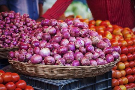 Udaipur, Rajasthan, India, January 31, 2018: Onion at public vegetable city market