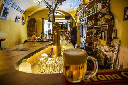 Prague, Czech republic, October 7, 2018: Ujezd Bar, legendary place for alkohol fans in center of Prague