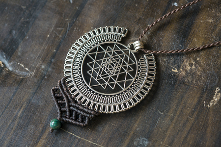 Sacred geometry metal pendant necklace with chrysokol stone bead