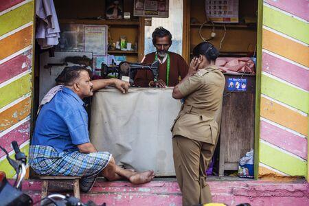 Tiruvannamalai, Tamil Nadu, India, January 31, 2018: Indian taylor working on the street 報道画像