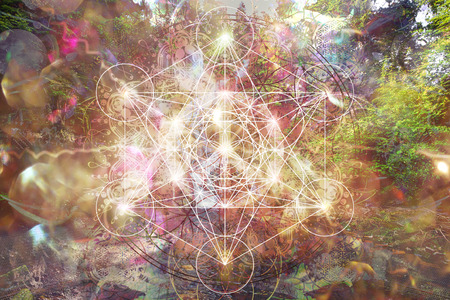 Fondo espiritual abstracto con geometría sagrada