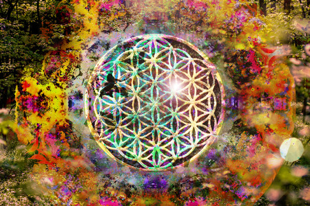 Abstract spiritual background with sacred geometry Stock fotó - 114562878