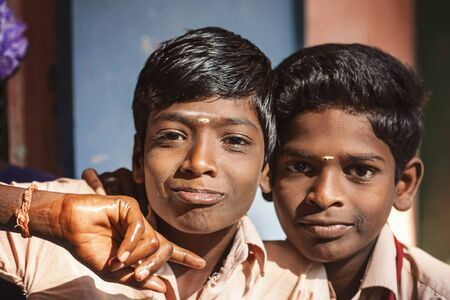 Arunachala, Tiruvannamalai, Tamil Nadu in India, January 30, 2018: Student boys in public school