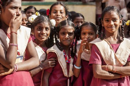 Arunachala, Tiruvannamalai, Tamil Nadu in India, January 30, 2018: Student girls in public school