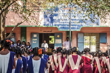 Arunachala, Tiruvannamalai, Tamil Nadu in India, January 30, 2018: Indian Public school, children in school uniforms greeting new day Sajtókép