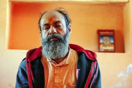 Pushkar, Rajasthan, India, February 14, 2018: Holy Baba in hinduistic temple