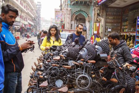 New Dehli, India, January 17, 2019: Buddhist souvenirs selling at the street of New Dehli