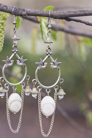 Metal earrings with natural components Imagens
