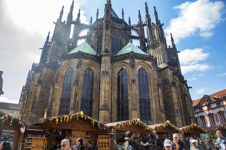 Prague, Czech Republic, April 17, 2019: Easter markets at Prague castle, St. Vitus cathedral Stock fotó - 127948816