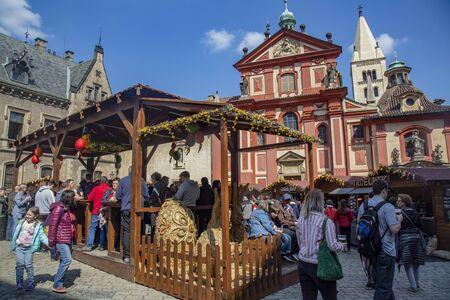 Prague, Czech Republic, April 17, 2019: Easter markets at Prague castle, St. Vitus cathedral