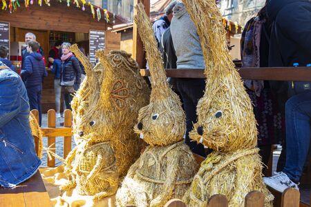 Prague, Czech Republic, April 17, 2019: Easter markets at Prague castle, St. Vitus cathedral square