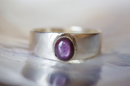 Beautiful silver ring with natural ruby star gemstone