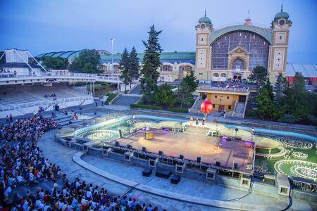 Prague, Czeech republic, June 5, 2019: Prague quadriennale 2019 opening at Industrial palace, PQ 2019, Krizik's Fountain Sajtókép