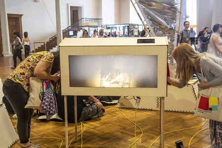 Prague, Czeech republic, June 5, 2019: Prague quadriennale 2019 opening at Industrial palace, PQ 2019