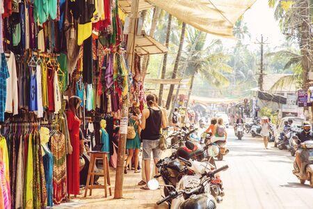 Arambol, Goa in India, February 1, 2019: Busy Street in Arambol