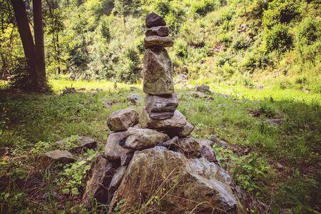 Rocks stones zen installation in summer nature in Bohemia 写真素材