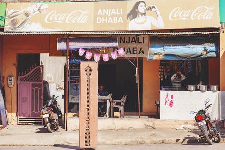 Taj Mahal, Agra, India, February 4, 2018: Local touristic kiosk Anjali Dhaba with Coca Cola brand