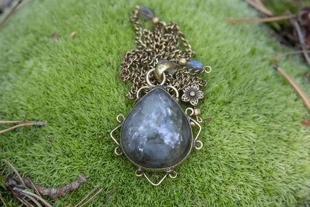 Labradorite drop shape decorative pendant on brass chain