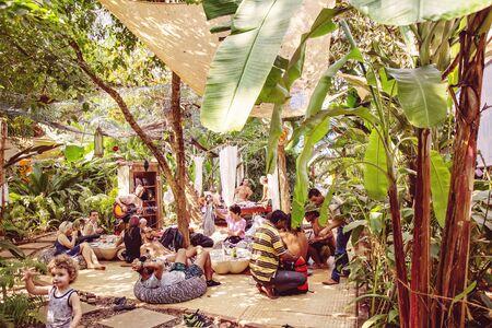 Arambol in Goa, India, February 1, 2019: Garden of Dreams local popular touristic restaurant