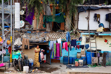 Delhi, India, March 2, 2020: Delhi suburbios train railway poverty habitat