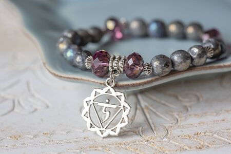 Electroplated fazeted labradorite mineral stone beads bracelet with sixth chakra pendant